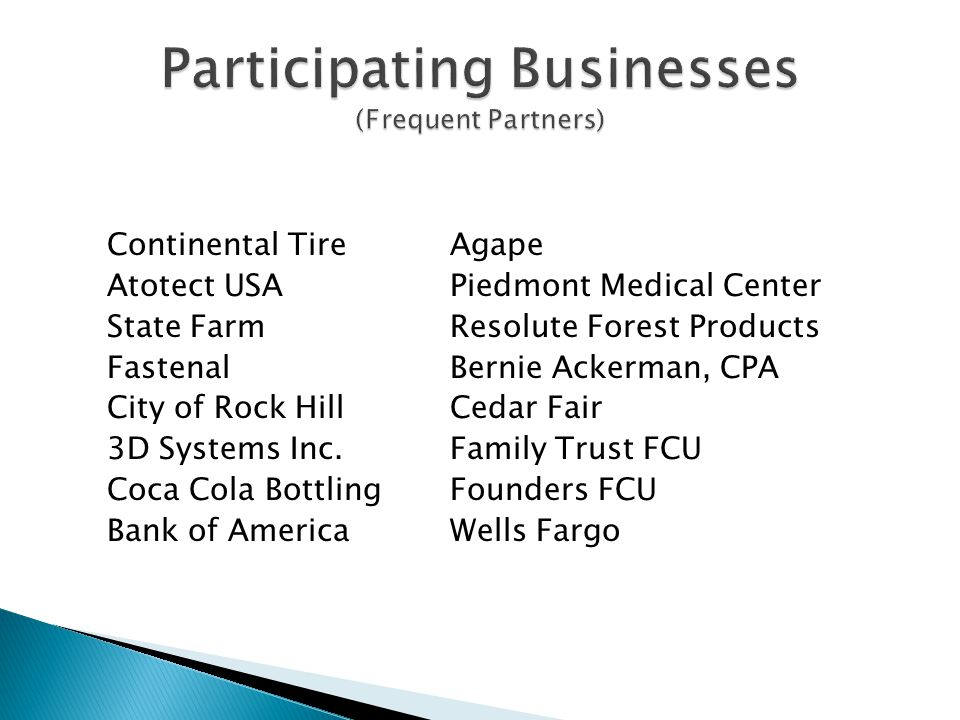 Continental TireAgape Atotect USAPiedmont Medical Center State FarmResolute Forest Products FastenalBernie Ackerman, CPA City of Rock HillCedar Fair 3D Systems Inc.Family Trust FCU Coca Cola BottlingFounders FCU Bank of AmericaWells Fargo