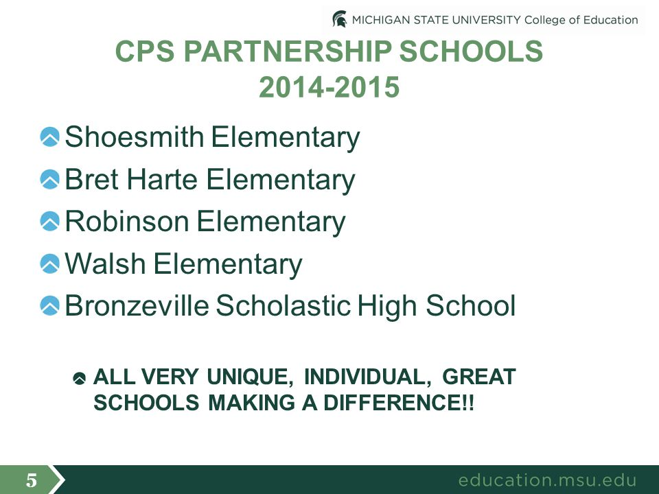 CPS PARTNERSHIP SCHOOLS 2014-2015 Shoesmith Elementary Bret Harte Elementary Robinson Elementary Walsh Elementary Bronzeville Scholastic High School ALL VERY UNIQUE, INDIVIDUAL, GREAT SCHOOLS MAKING A DIFFERENCE!.