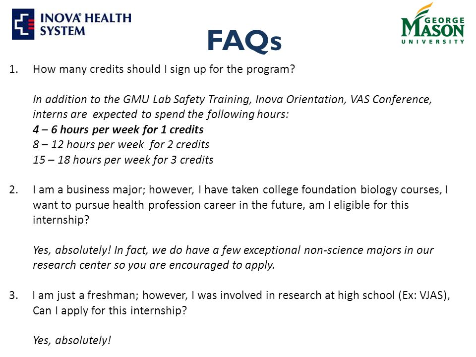 FAQs 1.How many credits should I sign up for the program.