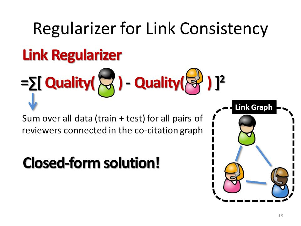 Regularizer for Link Consistency 18 Link Regularizer =∑[ Quality( ) - Quality( ) ] 2 Quality( ) ] 2 Closed-form solution.