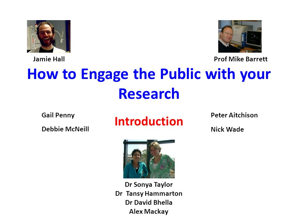 How to Engage the Public with your Research Introduction Dr Sonya Taylor Dr Tansy Hammarton Dr David Bhella Alex Mackay Jamie HallProf Mike Barrett Peter Aitchison Nick Wade Gail Penny Debbie McNeill