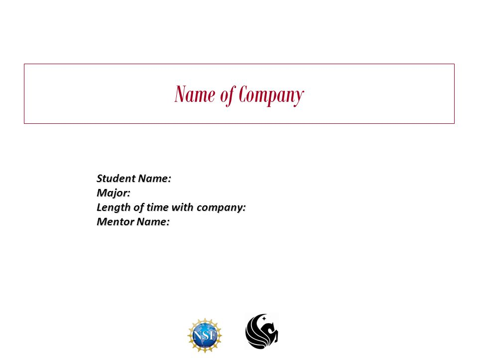 Name of Company Student Name: Major: Length of time with company: Mentor Name:
