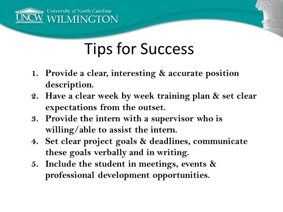 Tips for Success 1.Provide a clear, interesting & accurate position description.