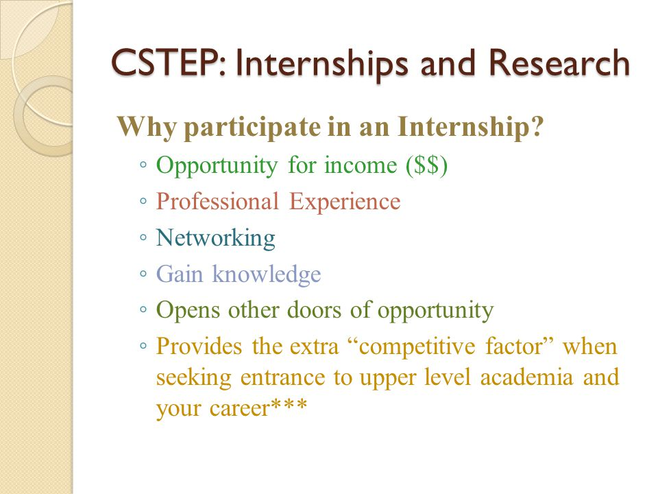 CSTEP: Internships and Research Why participate in an Internship? ◦ Opportunity for income ($$) ◦ Professional Experience ◦ Networking ◦ Gain knowledg