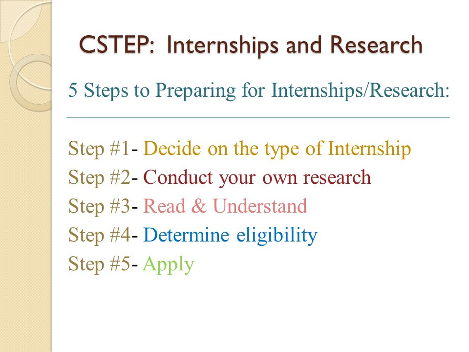 CSTEP: Internships and Research 5 Steps to Preparing for Internships/Research: Step #1- Decide on the type of Internship Step #2- Conduct your own res