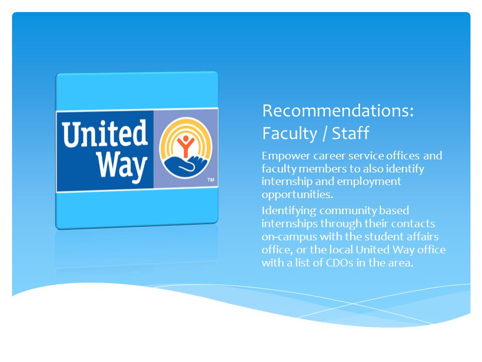 Recommendations: Faculty / Staff Empower career service offices and faculty members to also identify internship and employment opportunities.