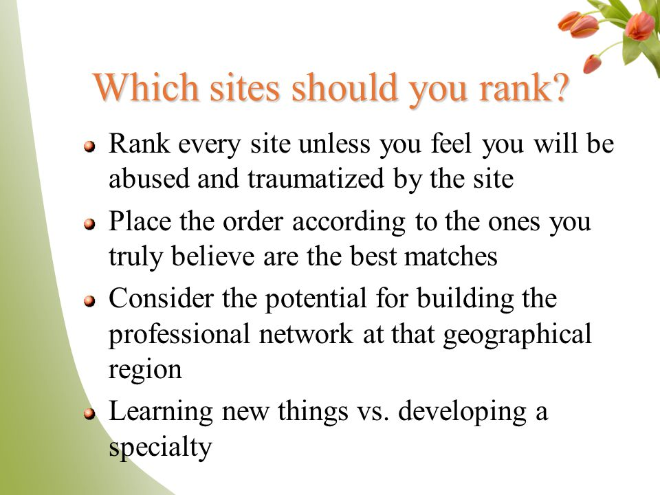 Which sites should you rank.