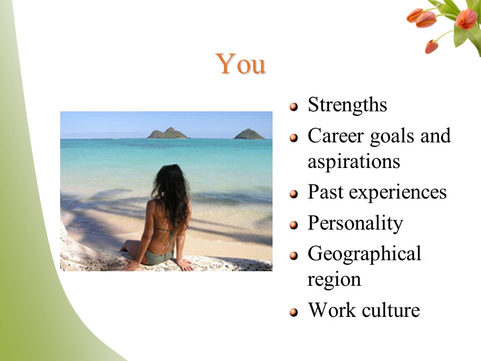 You Strengths Career goals and aspirations Past experiences Personality Geographical region Work culture