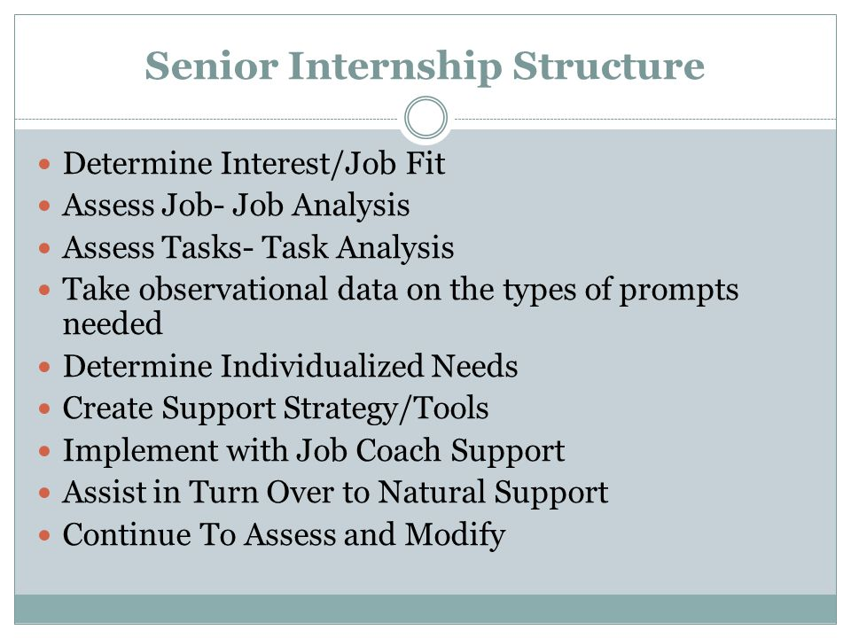Senior Internship Structure Determine Interest/Job Fit Assess Job- Job Analysis Assess Tasks- Task Analysis Take observational data on the types of prompts needed Determine Individualized Needs Create Support Strategy/Tools Implement with Job Coach Support Assist in Turn Over to Natural Support Continue To Assess and Modify
