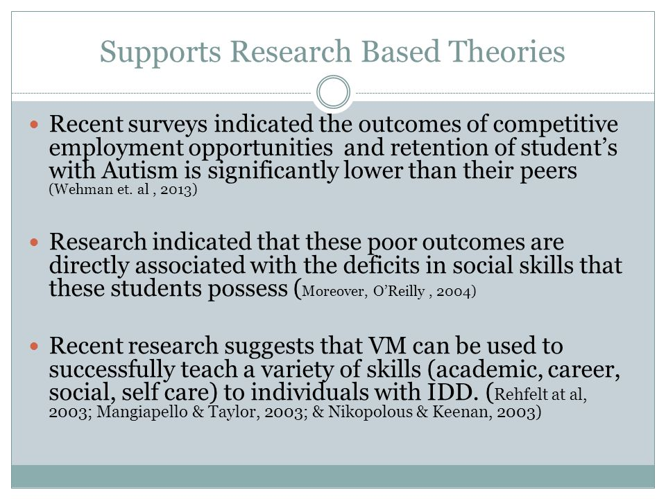 Supports Research Based Theories Recent surveys indicated the outcomes of competitive employment opportunities and retention of student's with Autism