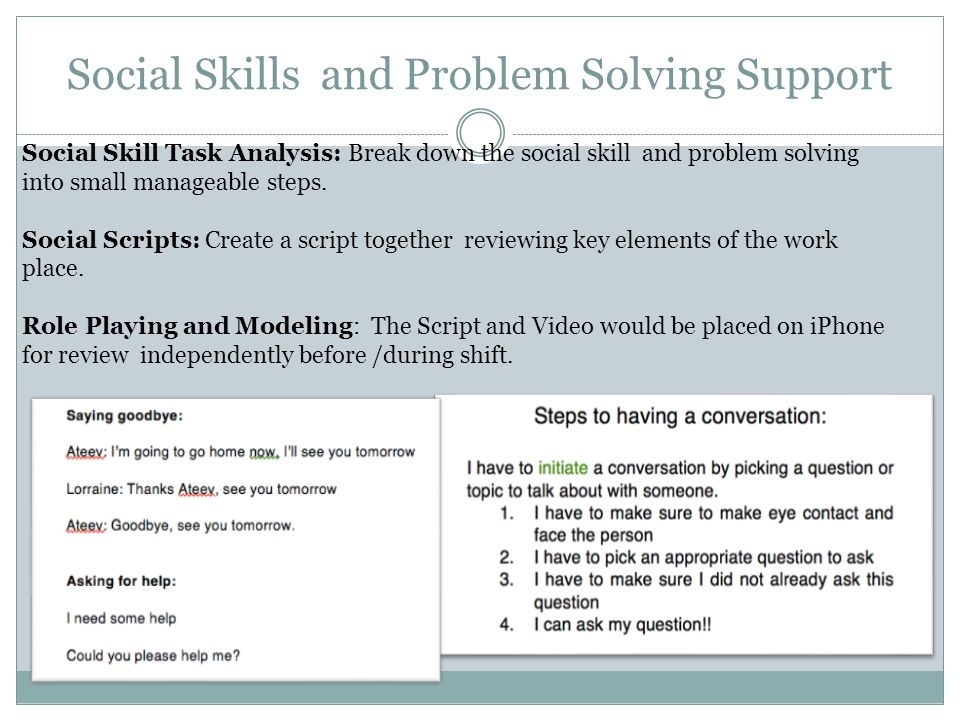 Social Skills and Problem Solving Support Social Skill Task Analysis: Break down the social skill and problem solving into small manageable steps. Soc