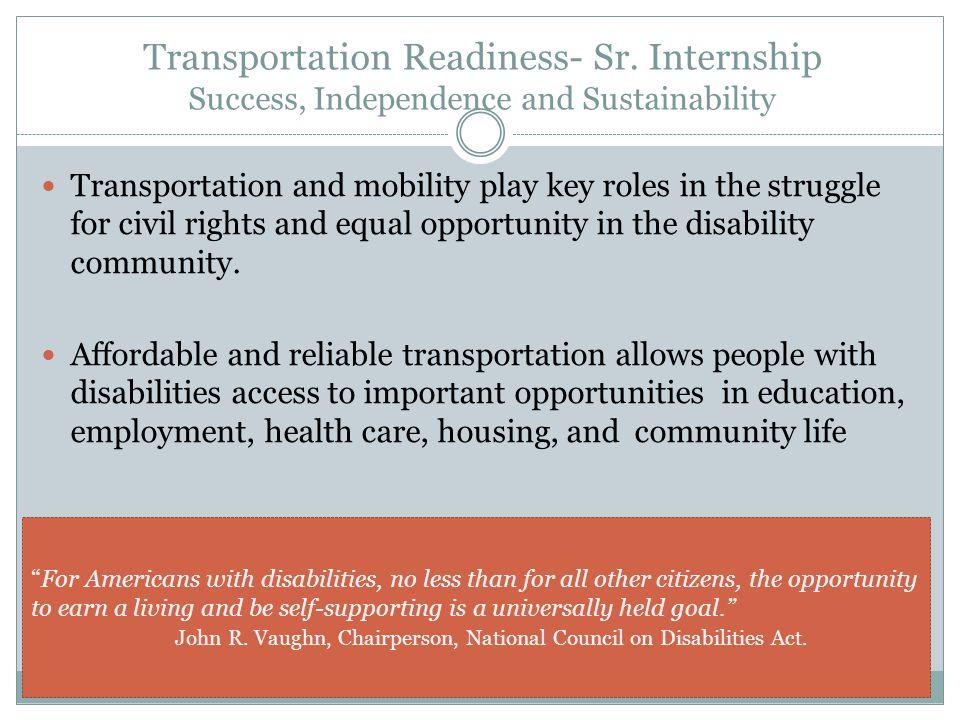 Transportation Readiness- Sr.