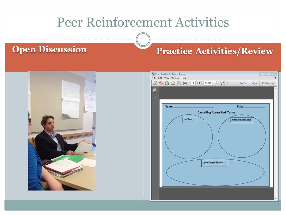 Open Discussion Practice Activities/Review Peer Reinforcement Activities