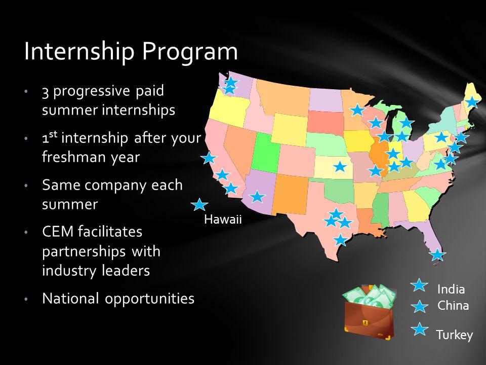 3 progressive paid summer internships 1 st internship after your freshman year Same company each summer CEM facilitates partnerships with industry lea