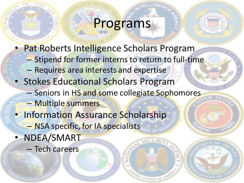 Programs Pat Roberts Intelligence Scholars Program – Stipend for former interns to return to full-time – Requires area interests and expertise Stokes