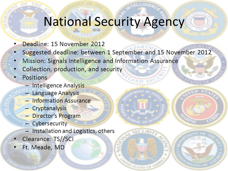 National Security Agency Deadline: 15 November 2012 Suggested deadline: between 1 September and 15 November 2012 Mission: Signals Intelligence and Inf