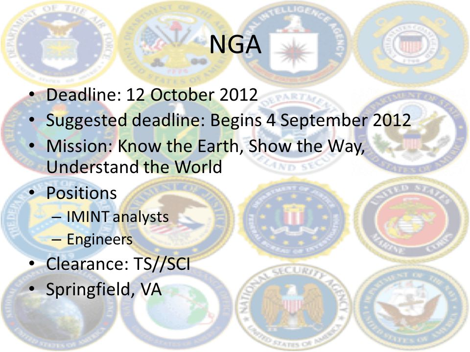 NGA Deadline: 12 October 2012 Suggested deadline: Begins 4 September 2012 Mission: Know the Earth, Show the Way, Understand the World Positions – IMIN