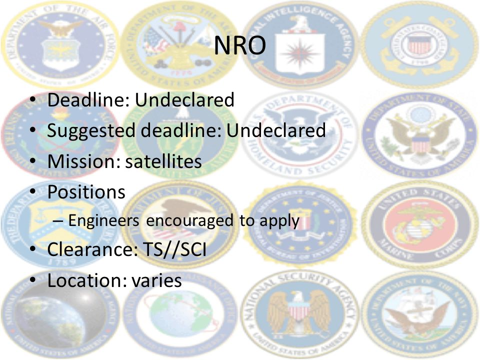 NRO Deadline: Undeclared Suggested deadline: Undeclared Mission: satellites Positions – Engineers encouraged to apply Clearance: TS//SCI Location: var