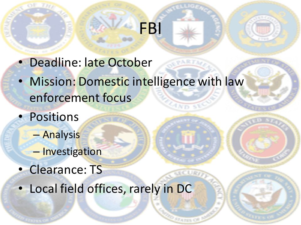 FBI Deadline: late October Mission: Domestic intelligence with law enforcement focus Positions – Analysis – Investigation Clearance: TS Local field of