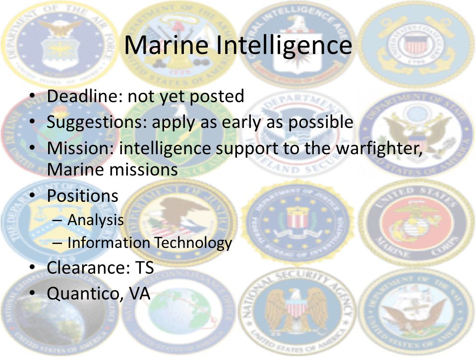 Marine Intelligence Deadline: not yet posted Suggestions: apply as early as possible Mission: intelligence support to the warfighter, Marine missions