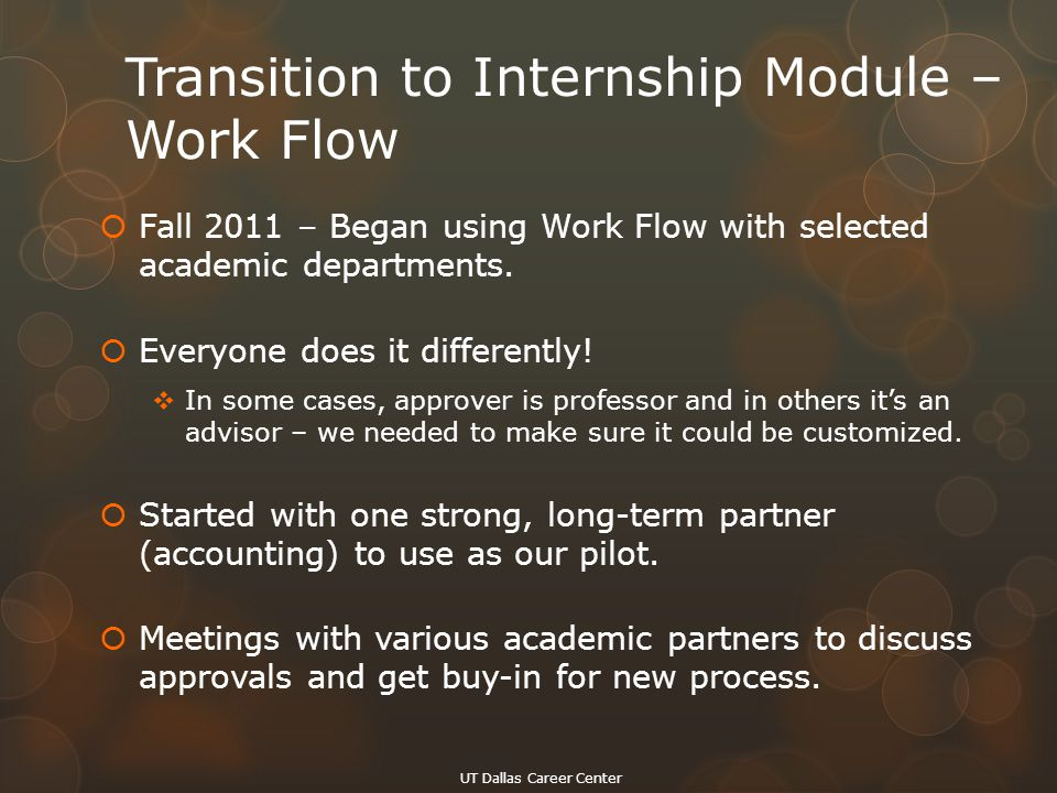 Transition to Internship Module – Work Flow  Fall 2011 – Began using Work Flow with selected academic departments.