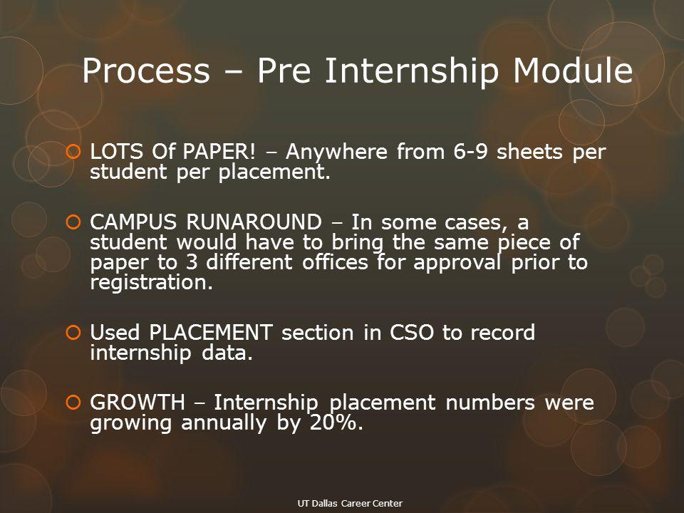 Process – Pre Internship Module  LOTS Of PAPER.