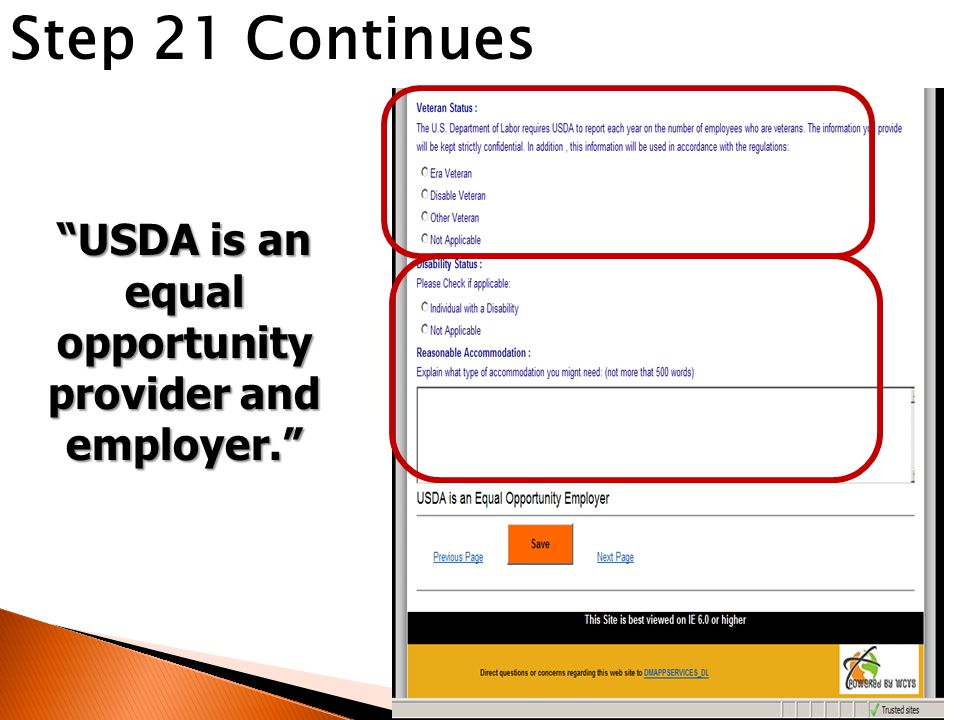 """Step 21 Continues """"USDA is an equal opportunity provider and employer."""""""