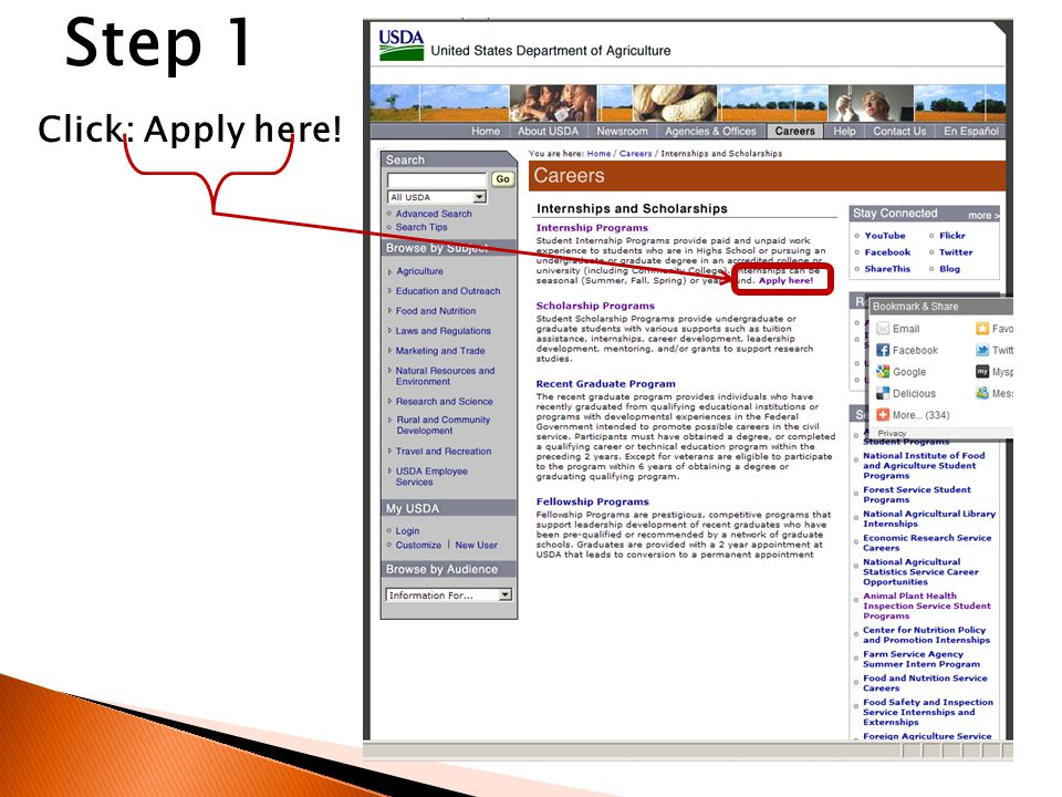 Click: Apply here! Step 1