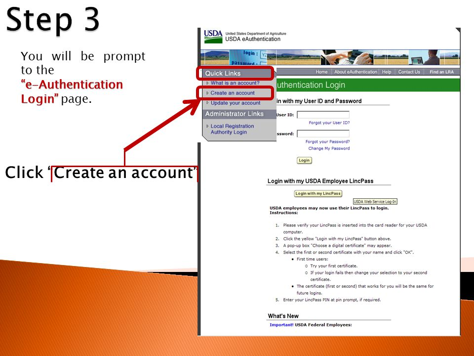 """Click """"Create an account"""" You will be prompt to the """"e-Authentication Login"""" """"e-Authentication Login"""" page."""