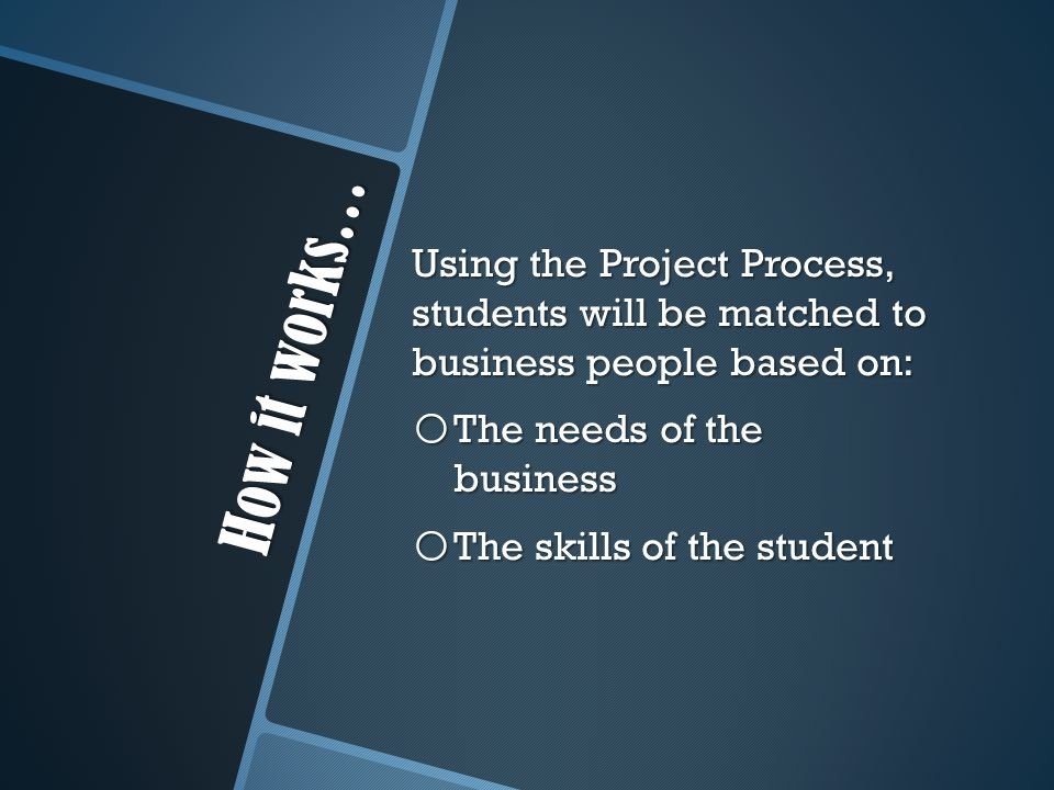 How it works… Using the Project Process, students will be matched to business people based on: o The needs of the business o The skills of the student