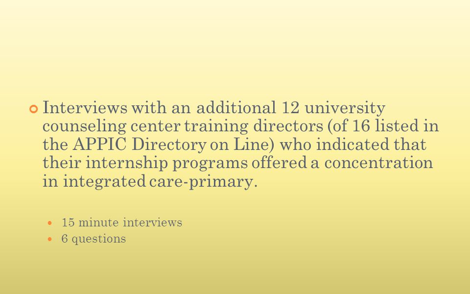 Interviews with an additional 12 university counseling center training directors (of 16 listed in the APPIC Directory on Line) who indicated that thei