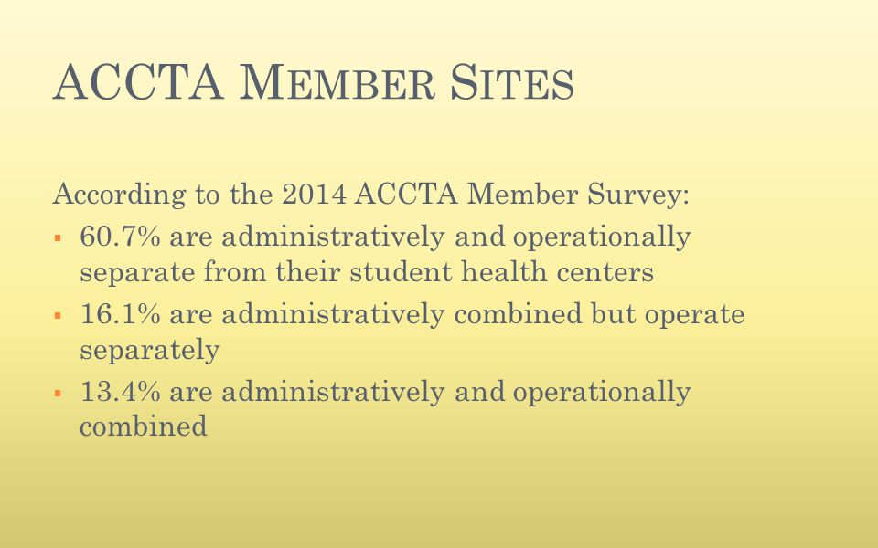 ACCTA M EMBER S ITES According to the 2014 ACCTA Member Survey:  60.7% are administratively and operationally separate from their student health cent