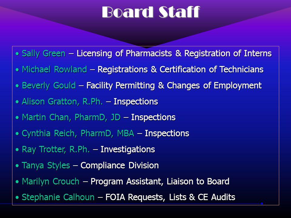 SC Board of Pharmacy Phone:(803) 896-4700 Fax:(803) 896-4596 www.llronline.com/pol/pharmacy Lee Ann F.