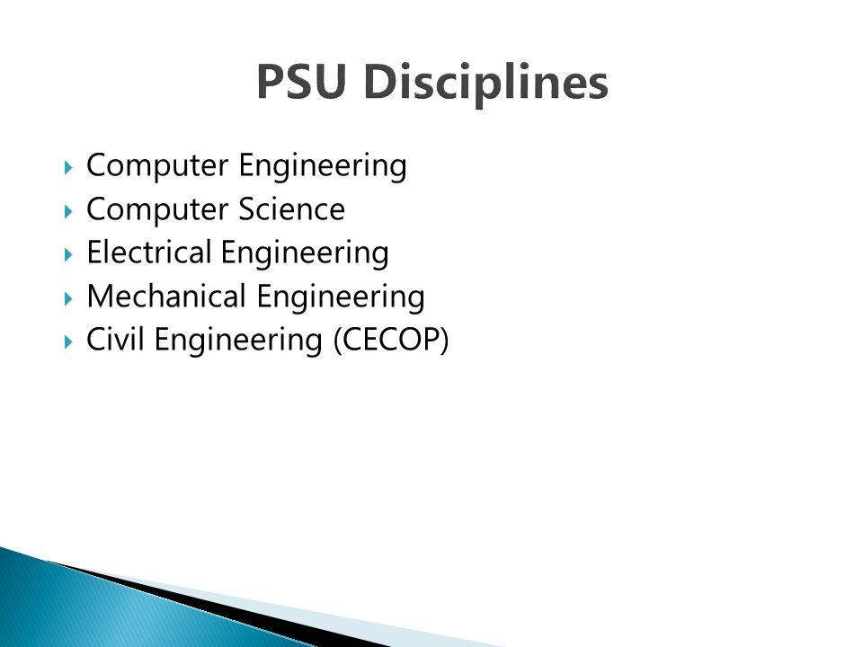  Computer Engineering  Computer Science  Electrical Engineering  Mechanical Engineering  Civil Engineering (CECOP)
