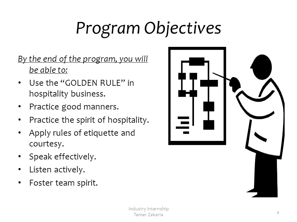 Program Objectives By the end of the program, you will be able to: Use the GOLDEN RULE in hospitality business.