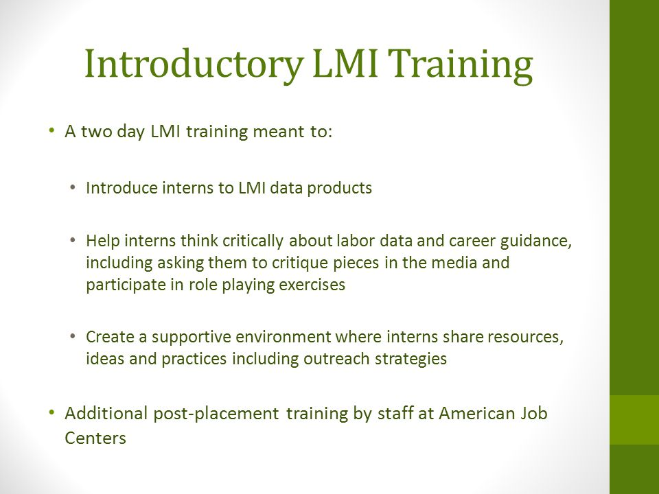 Introductory LMI Training A two day LMI training meant to: Introduce interns to LMI data products Help interns think critically about labor data and career guidance, including asking them to critique pieces in the media and participate in role playing exercises Create a supportive environment where interns share resources, ideas and practices including outreach strategies Additional post-placement training by staff at American Job Centers