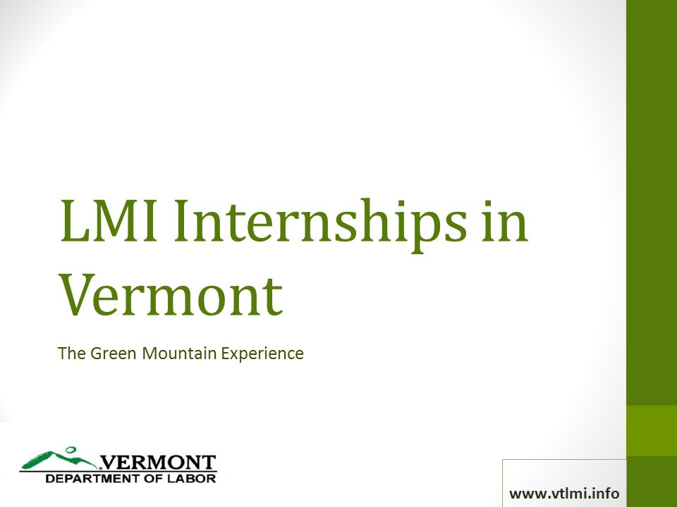 LMI Internships in Vermont The Green Mountain Experience www.vtlmi.info