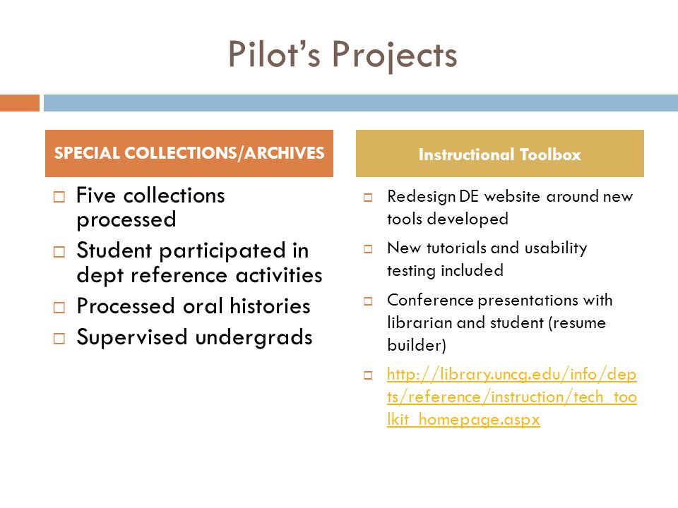Pilot's Projects  Five collections processed  Student participated in dept reference activities  Processed oral histories  Supervised undergrads  Redesign DE website around new tools developed  New tutorials and usability testing included  Conference presentations with librarian and student (resume builder)  http://library.uncg.edu/info/dep ts/reference/instruction/tech_too lkit_homepage.aspx http://library.uncg.edu/info/dep ts/reference/instruction/tech_too lkit_homepage.aspx SPECIAL COLLECTIONS/ARCHIVES Instructional Toolbox