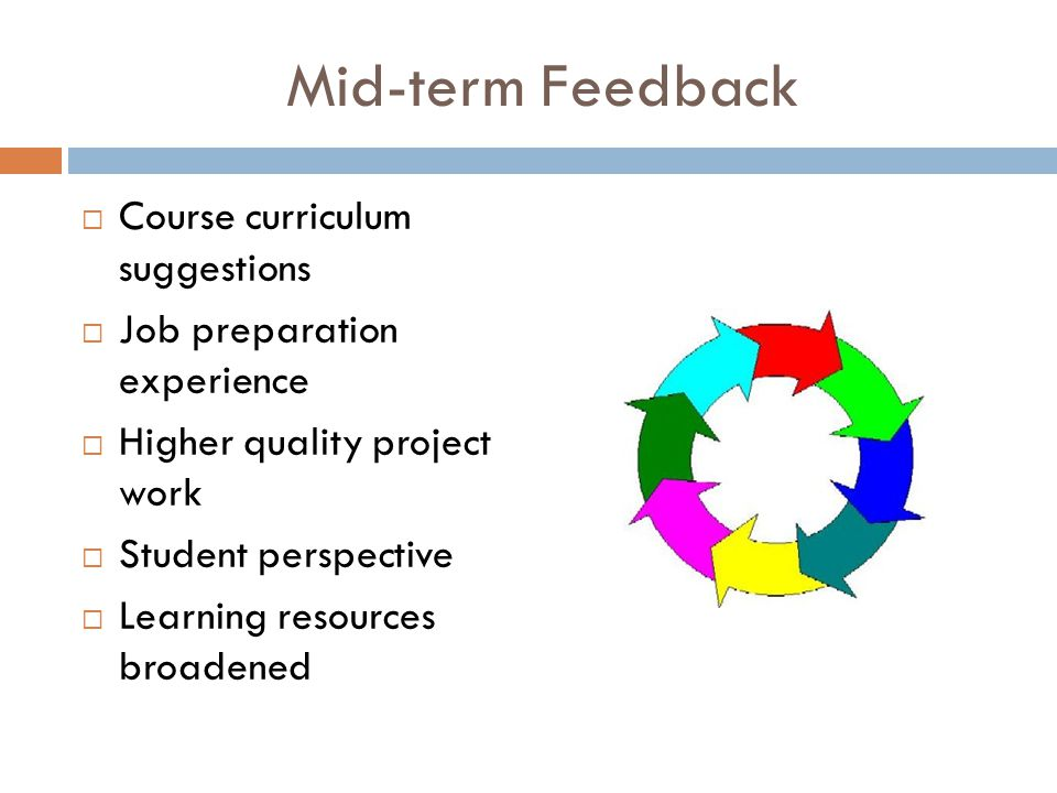 Mid-term Feedback  Course curriculum suggestions  Job preparation experience  Higher quality project work  Student perspective  Learning resources broadened