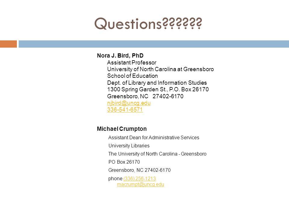 Questions . Nora J.