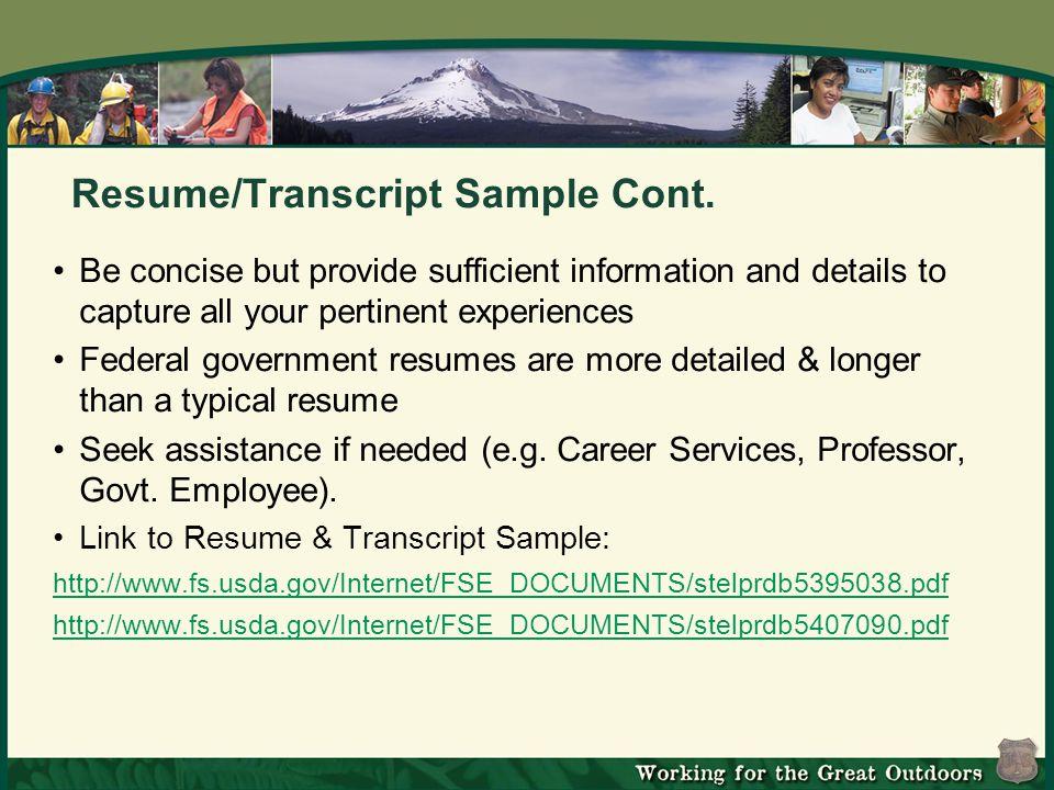 Resume/Transcript Sample Cont.