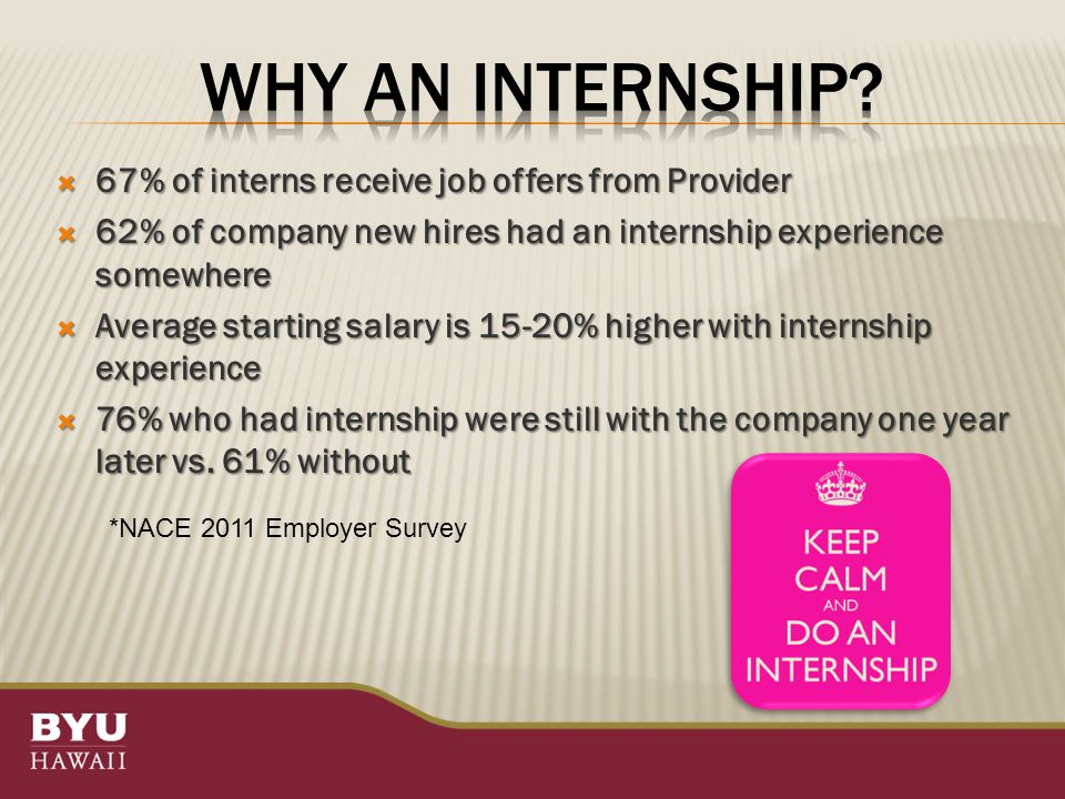  67% of interns receive job offers from Provider  62% of company new hires had an internship experience somewhere  Average starting salary is 15-20% higher with internship experience  76% who had internship were still with the company one year later vs.