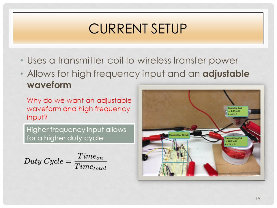 CURRENT SETUP Uses a transmitter coil to wireless transfer power Allows for high frequency input and an adjustable waveform Why do we want an adjustable waveform and high frequency input.