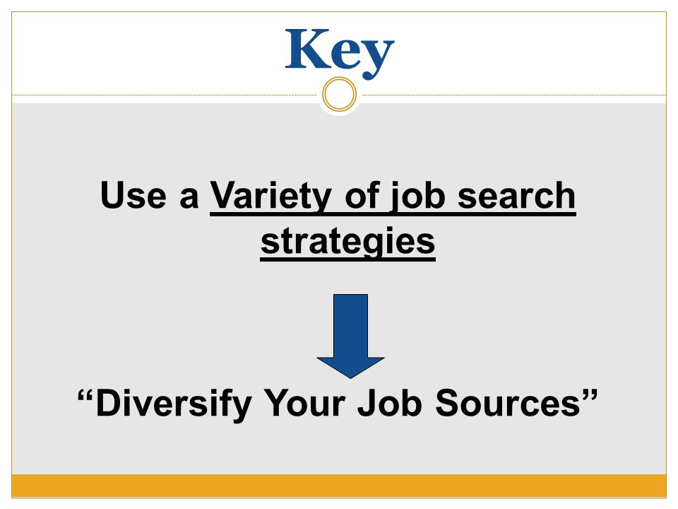 """Key Use a Variety of job search strategies """"Diversify Your Job Sources"""""""