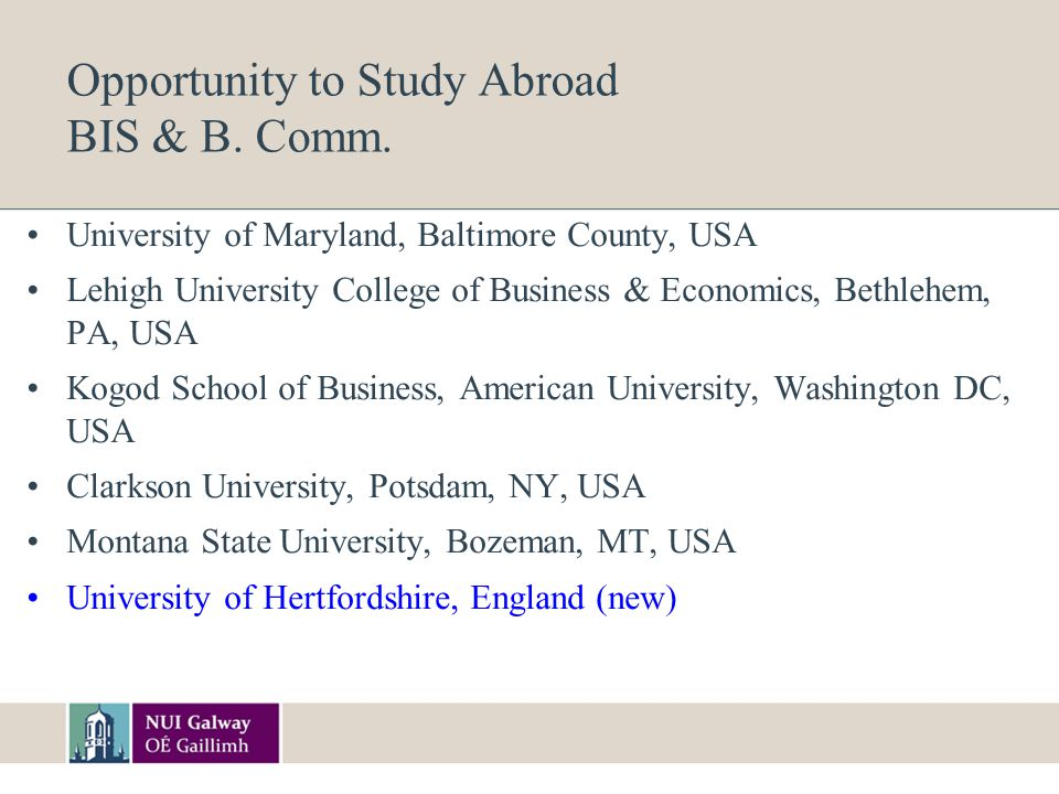 Opportunity to Study Abroad BIS & B. Comm.