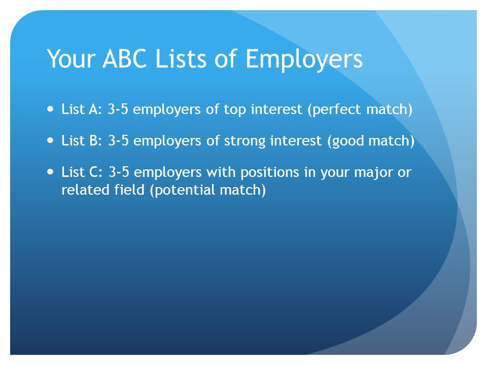 Your ABC Lists of Employers List A: 3-5 employers of top interest (perfect match) List B: 3-5 employers of strong interest (good match) List C: 3-5 em