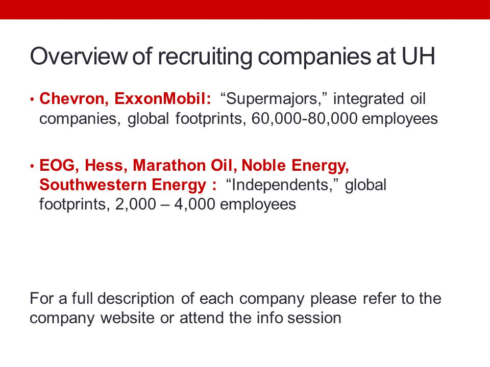 Overview of recruiting companies at UH Chevron, ExxonMobil: Supermajors, integrated oil companies, global footprints, 60,000-80,000 employees EOG, Hess, Marathon Oil, Noble Energy, Southwestern Energy : Independents, global footprints, 2,000 – 4,000 employees For a full description of each company please refer to the company website or attend the info session