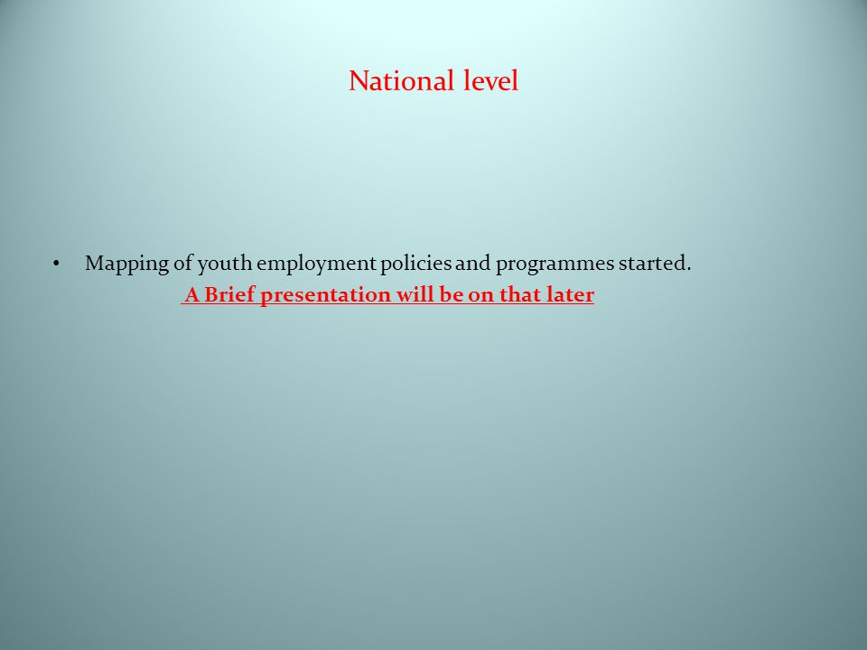 National level Mapping of youth employment policies and programmes started. A Brief presentation will be on that later