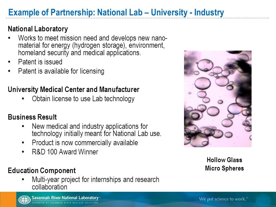 Example of Partnership: National Lab – University - Industry National Laboratory Works to meet mission need and develops new nano- material for energy (hydrogen storage), environment, homeland security and medical applications.