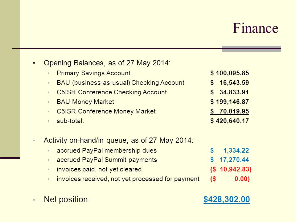Finance Opening Balances, as of 27 May 2014: Primary Savings Account$ 100,095.85 BAU (business-as-usual) Checking Account$ 16,543.59 C5ISR Conference Checking Account$ 34,833.91 BAU Money Market$ 199,146.87 C5ISR Conference Money Market$ 70,019.95 sub-total:$ 420,640.17 Activity on-hand/in queue, as of 27 May 2014: accrued PayPal membership dues$ 1,334.22 accrued PayPal Summit payments$ 17,270.44 invoices paid, not yet cleared ($ 10,942.83) invoices received, not yet processed for payment($ 0.00) Net position: $428,302.00